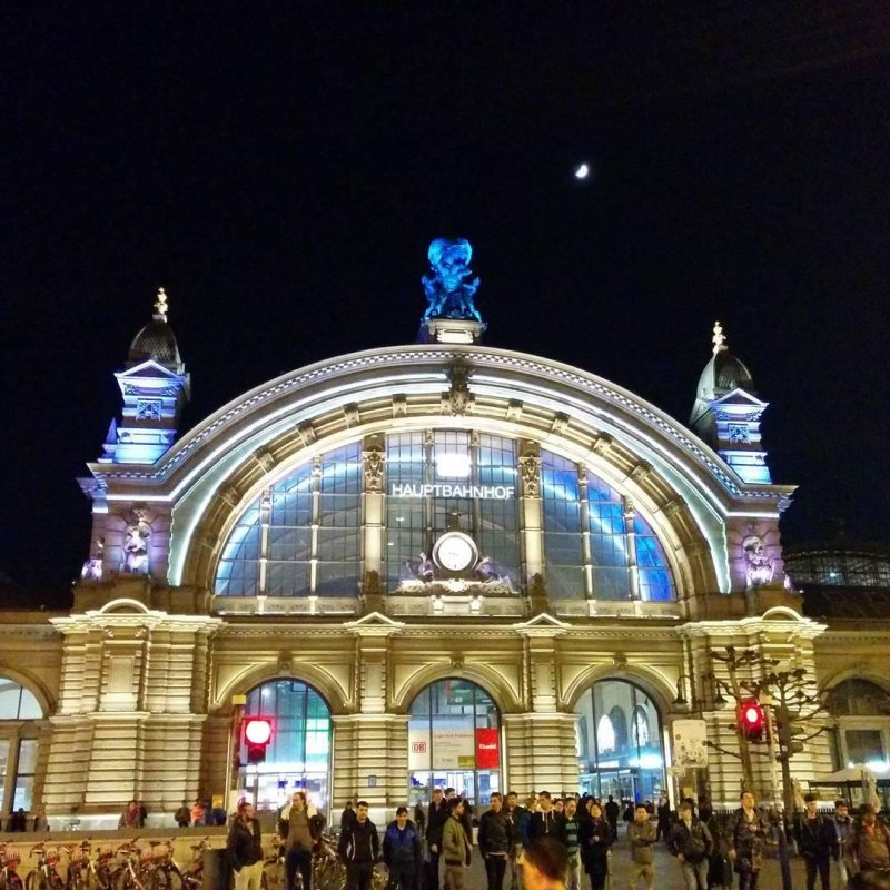 Frankfurt Main Station, illuminated.